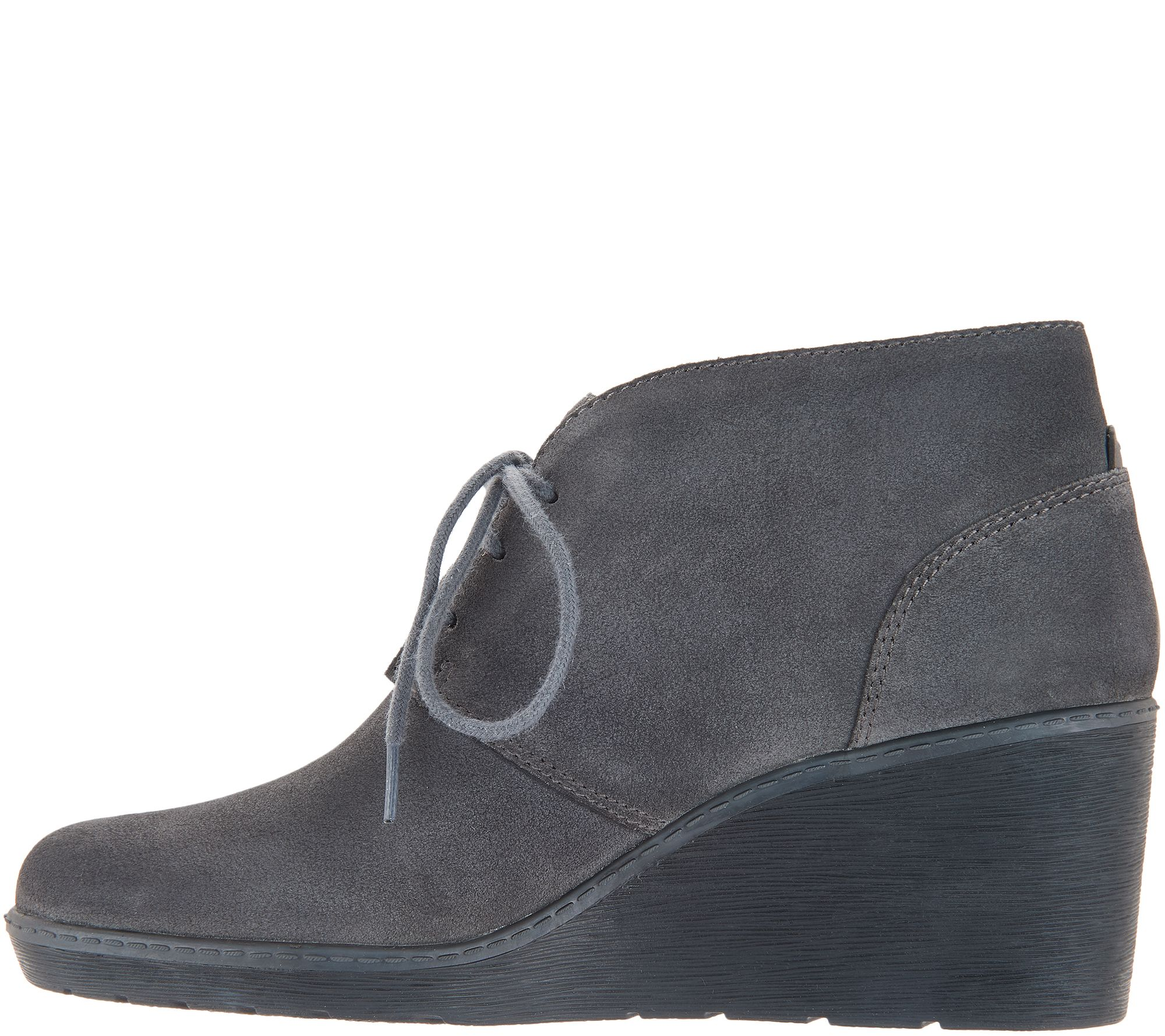725717ead01 Clarks Suede Lace-Up Wedge Booties - Hazen Charm - Page 1 — QVC.com
