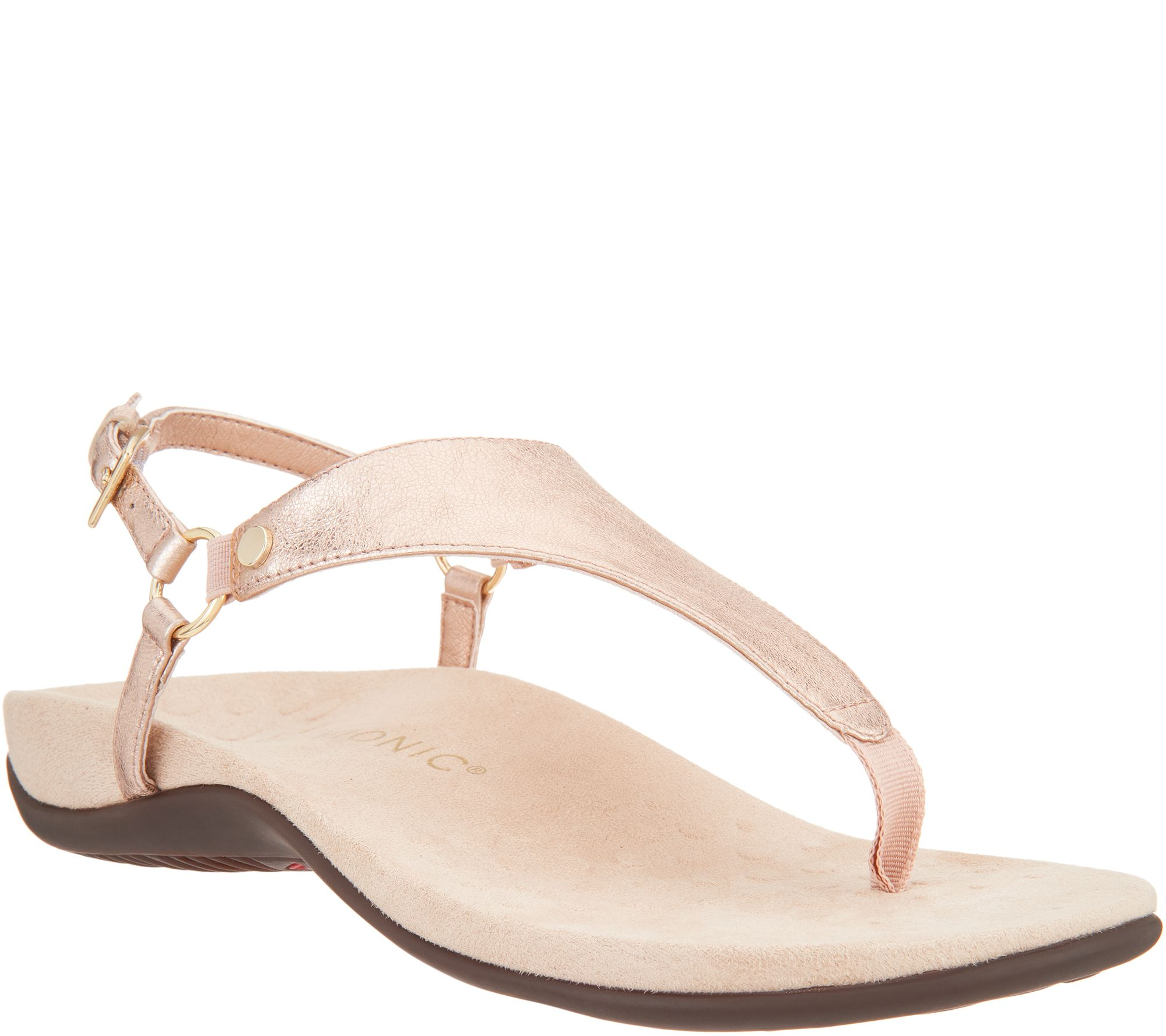 1cab57bd551 Vionic Leather T-Strap Sandals - Kirra Metallic - Page 1 — QVC.com