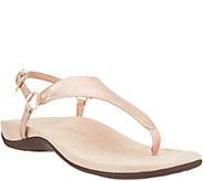 Vionic Leather T-Strap Sandals - Kirra Metallic - A346951