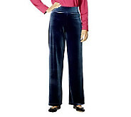 Susan Graver Stretch Velvet Wide Waistband Pants Petite Length - A4551