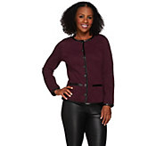 Isaac Mizrahi Live! Quilted Knit Jacket w/ Faux Leather Trim - A269652