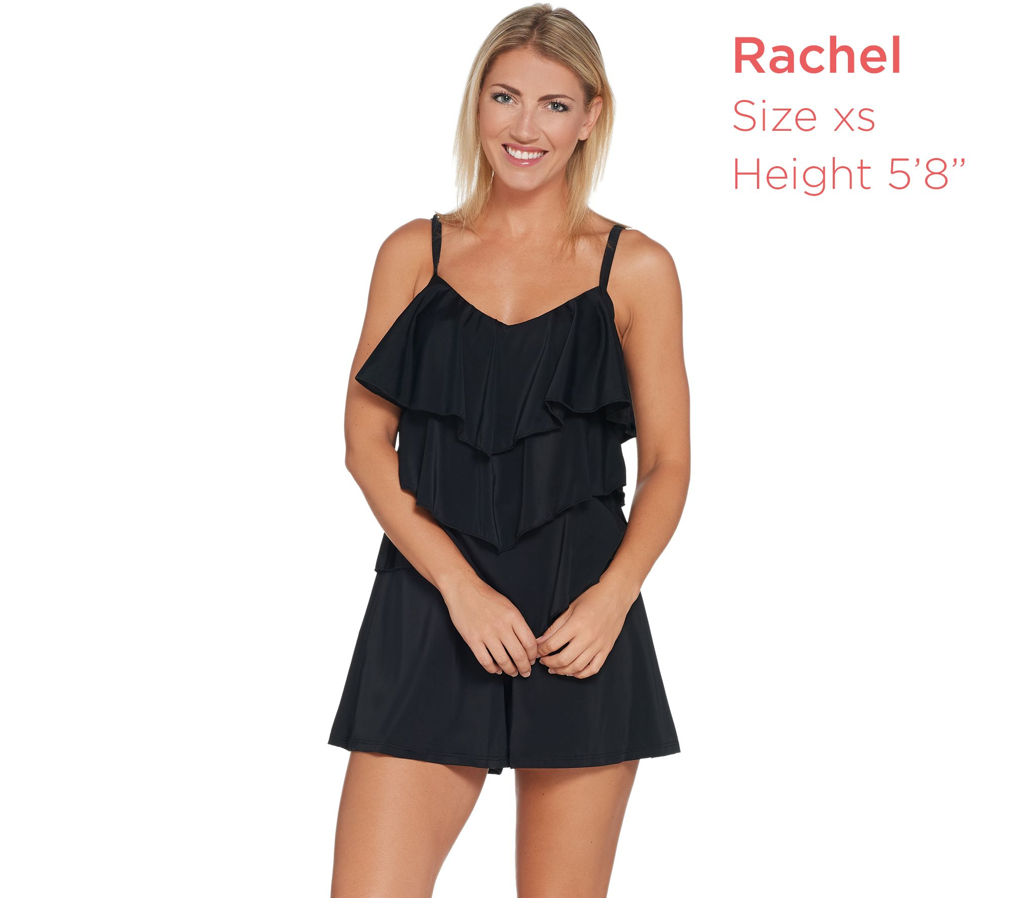 929e18101c3f5 Fit 4 U V-Tiered Romper Swimsuit - Page 1 — QVC.com