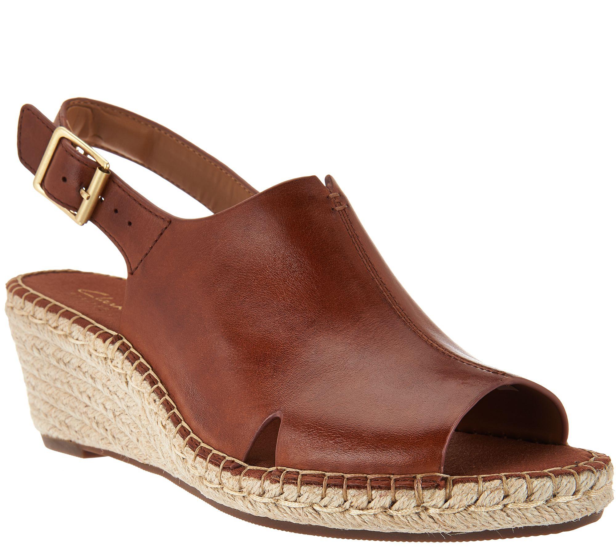 18d8e1c0915db8 Clarks Artisan Leather Espadrille Wedge Sandals - Petrina Meera - Page 1 —  QVC.com