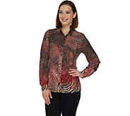 Susan Graver Printed Stretch Woven Button Front Big Shirt - A281152