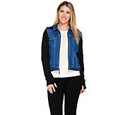 Peace Love World French Terry & Denim Zip Front Jacket - A290452