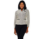 As Is Joan Rivers Popcorn Knit Zip Front Jacket w/ Faux Leather Detail - A292052