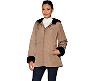 Dennis Basso Water Resistant Quilted Jacket w/ Faux Fur Trim - A297452