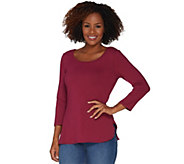 Women with Control Essentials 3/4 Sleeve Top w/ Shirttail Hem - A298652