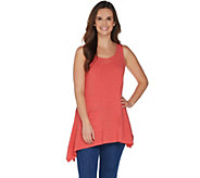 LOGO Lounge by Lori Goldstein Tank Top with Asymmetric Hem & Patch Pocket - A302452