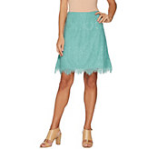 Isaac Mizrahi Live! Knit Lace Pull-On Skort with Scallop Hem - A305252