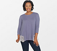 LOGO by Lori Goldstein Cotton Slub Knit Top with Lace Back Panel - A307252