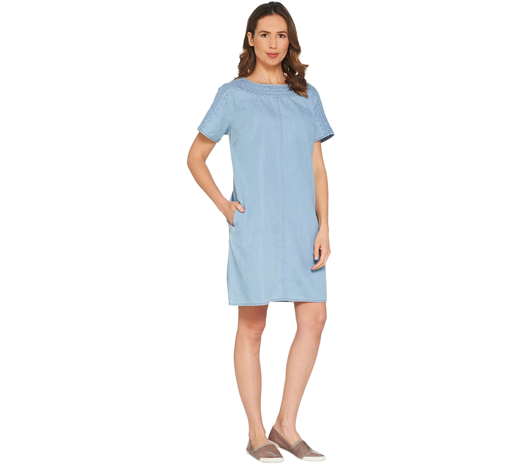 Martha Stewart Short Sleeve Denim Shift Dress — QVC.com