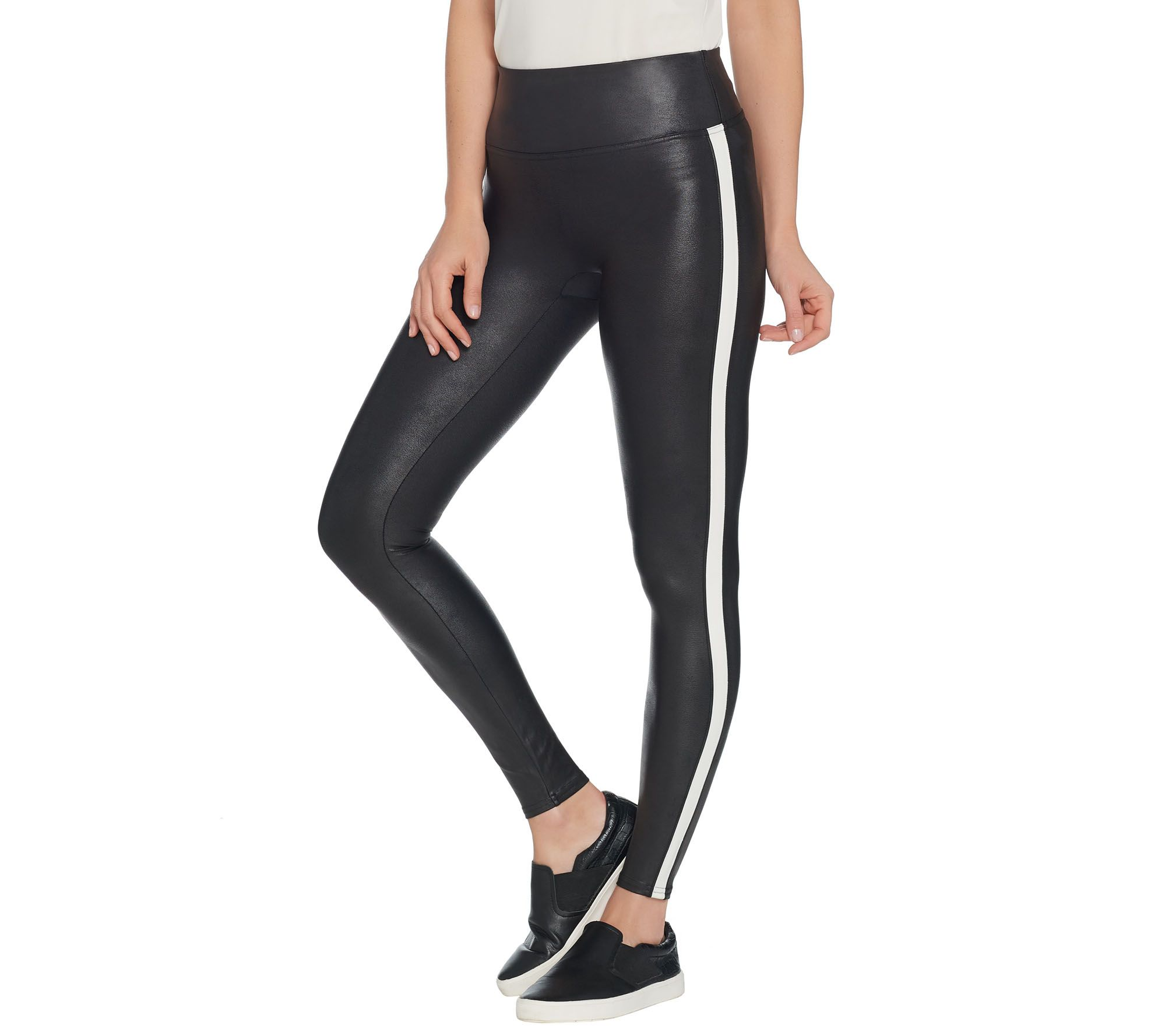 05a9711919ac1 Spanx Faux Leather Black and White Striped Leggings - Page 1 — QVC.com