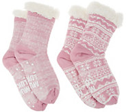 MUK LUKS Jojoba Faux Shearling Cabin Socks Set of 2 - A342652