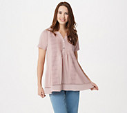 LOGO by Lori Goldstein Cotton Modal Henley Top with Lace Panels - A347652