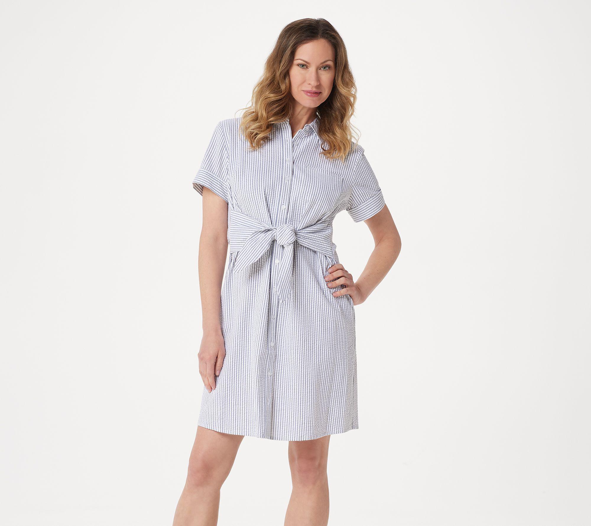 Denim Co Petite Seersucker Tie Front Shirt Dress Qvc Com