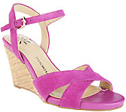 Isaac Mizrahi Live! Leather & Suede Crossover Strap Wedge Sandals - A264253