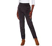 Denim & Co. Slim Leg Wide Wale Corduroy Side Pocket Pants - A269353