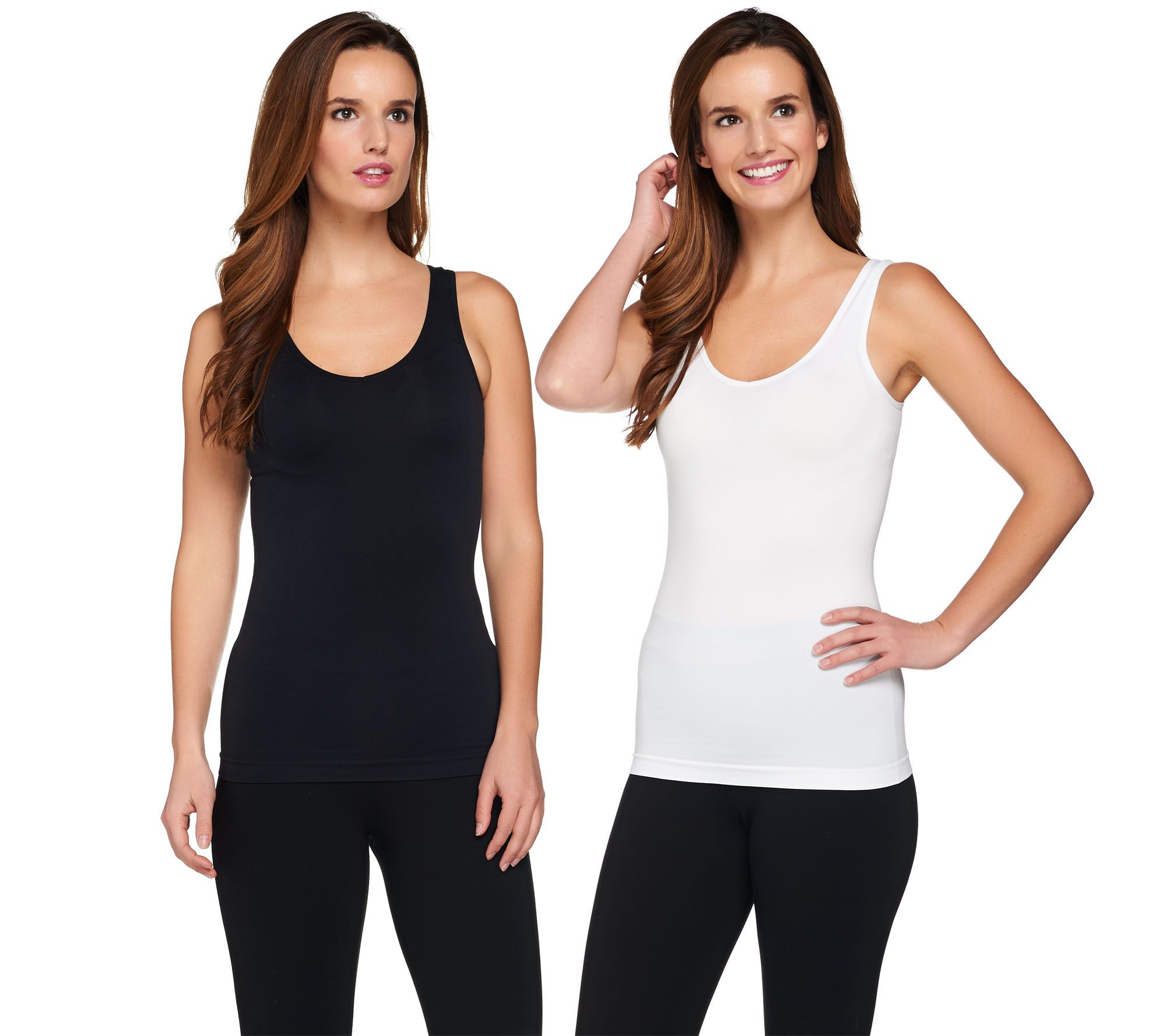 ee4098102e609 Breezies Set of 2 Reversible Seamless Tanks - Page 1 — QVC.com