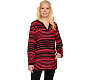 Susan Graver Printed Feather Weave Tunic w/ Solid Dolce Knit Back - A272353
