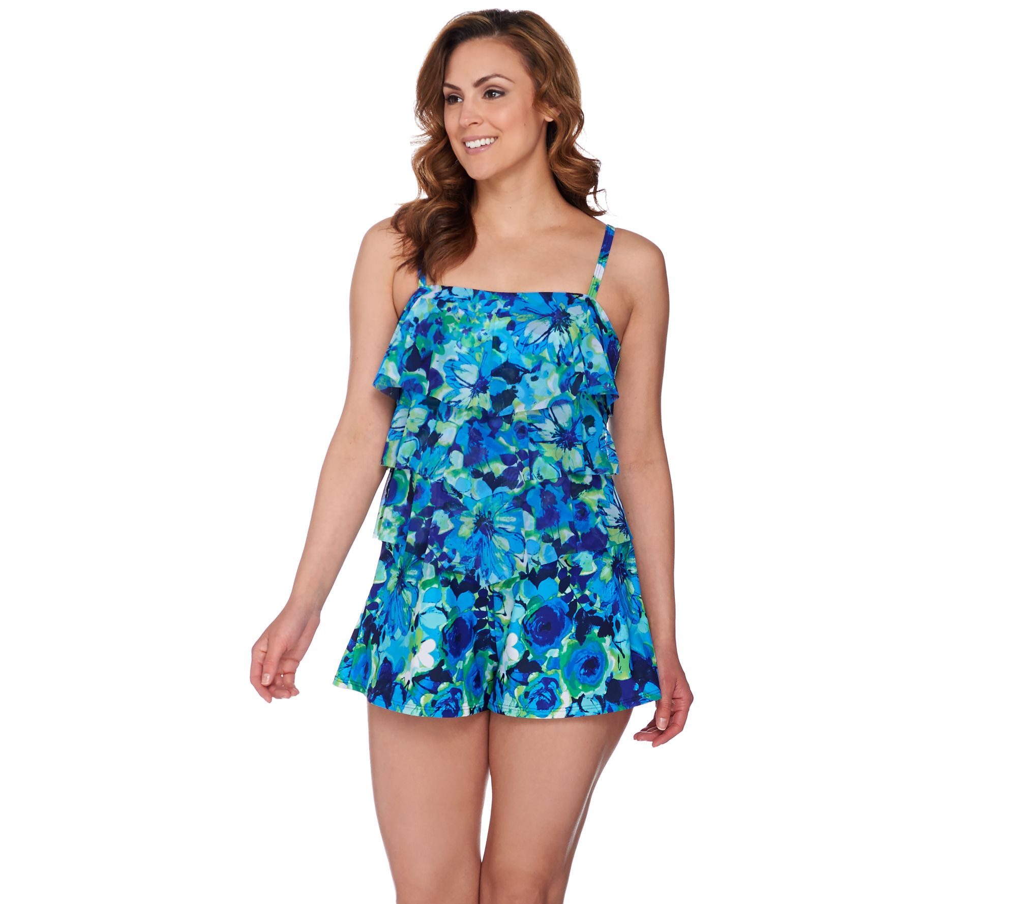 Fit 4 U Bandeau V-Tiered Mesh Romper Swimsuit - Page 1 — QVC.com