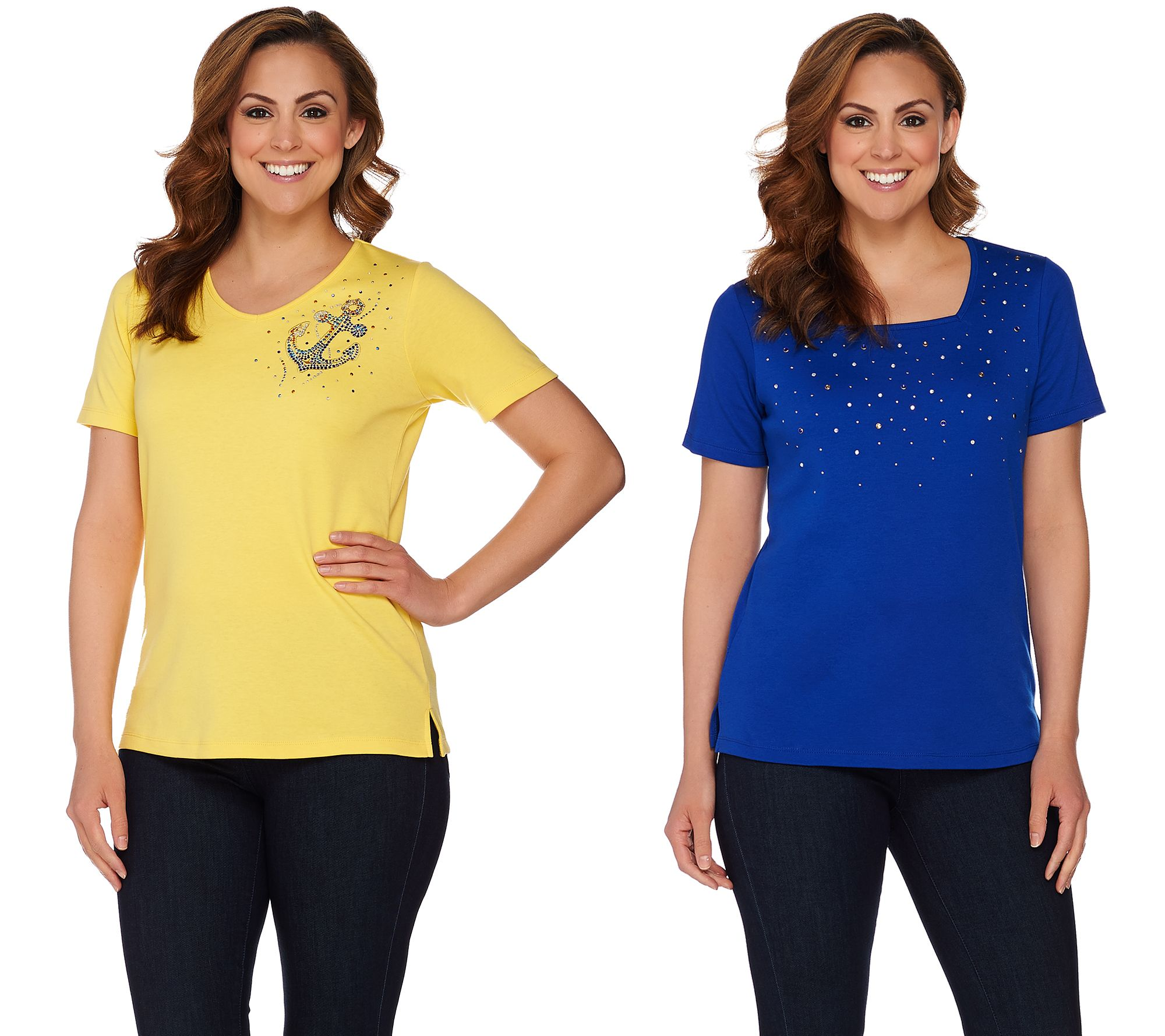 Quacker Factory Set Of 2 Summer Sparkle Short Sleeve T Shirts Page