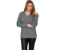 Lisa Rinna Collection V-Neck Long Sleeve Sweater - A278953
