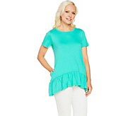 LOGO by Lori Goldstein Solid Knit Top with Drop Waist Seam - A288853