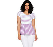 Isaac Mizrahi Live! Striped Short Sleeve Knit Peplum Top - A292253