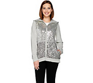 As Is Quacker Factory Ombre Sequin Zip Front Hoodie - A297253