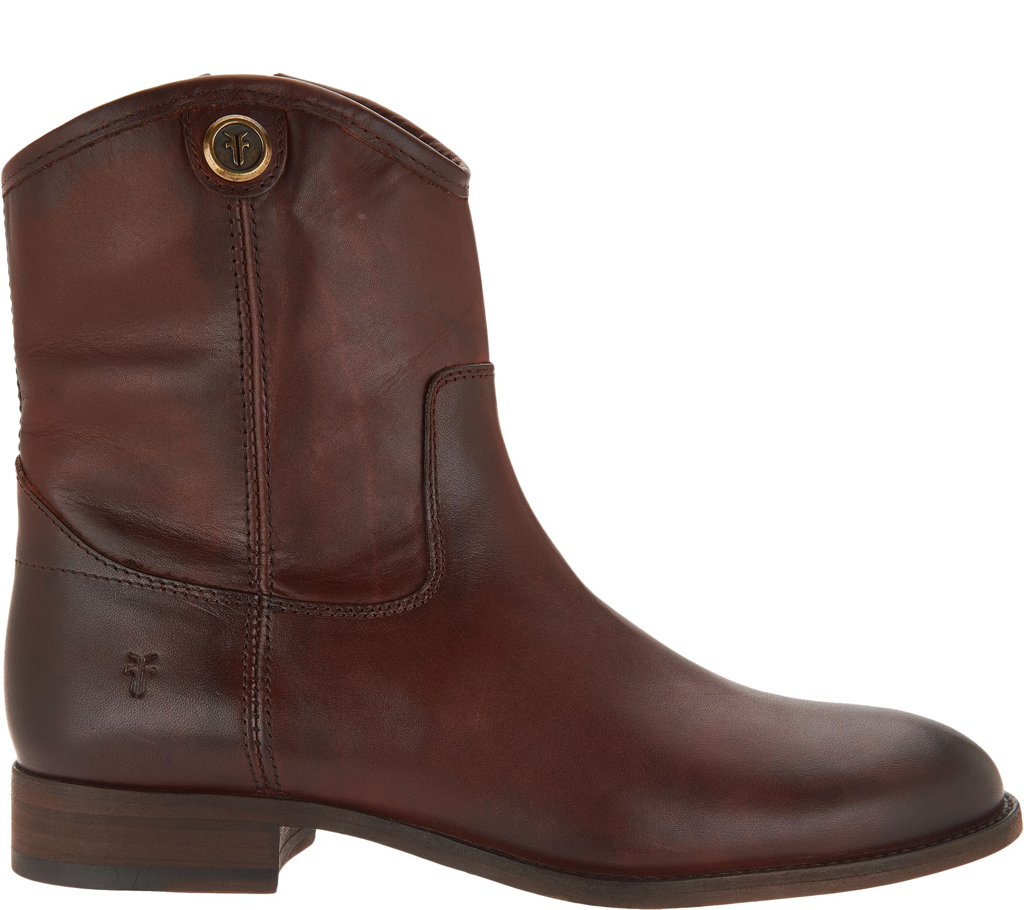4eeef58b836 Frye Leather Side Zip Ankle Boots - Melissa Button Short 2 - Page 1 —  QVC.com