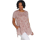 LOGO by Lori Goldstein Cotton Slub Top w/ Embroidery Details - A305453