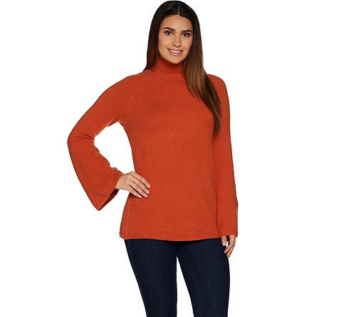 As Is Du Jour Mock Neck Bell Sleeve SweaterTunic