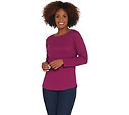 Denim & Co. Essentials Ribbed Boatneck Long-Sleeve Top - A309453