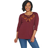 Quacker Factory 3/4-Sleeve Embroidered Knit Top with Front Tassels - A341753