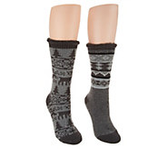 MUK LUKS Heat Retainer Socks Set of Two - A342653