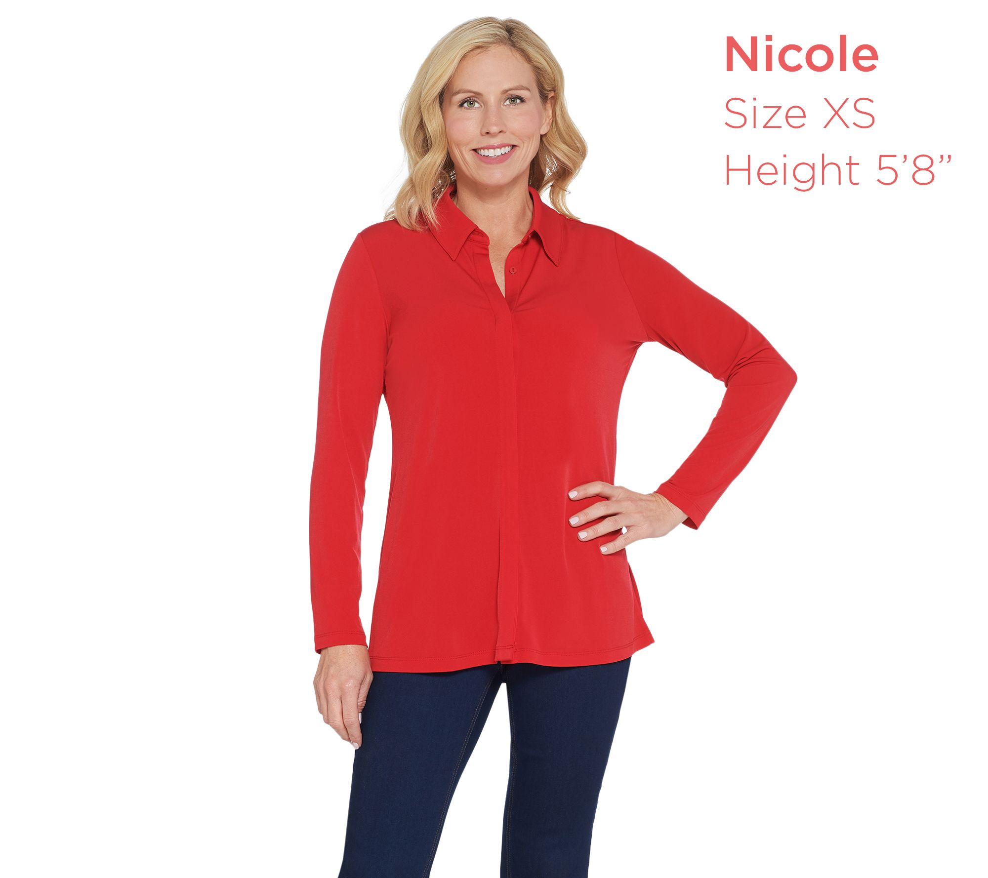03904352d84 Every Day by Susan Graver Liquid Knit Button-Front Shirt - Page 1 — QVC.com
