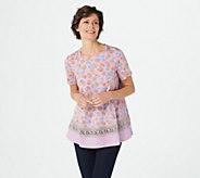 LOGO by Lori Goldstein Cotton Modal Mixed Print Top w/ Crochet - A347653