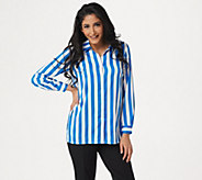 Linea by Louis DellOlio Button Front Striped Shirt - A349653