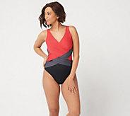 Denim & Co. Beach Criss Cross One Piece Swimsuit - A350353