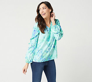 Belle by Kim Gravel Watercolor Floral PrintBlouse