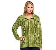 Aran Craft Convertible Collar Plaited Cardigan - A237954