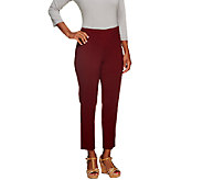 Susan Graver Petite Chelsea Stretch Side Zip Ankle Pant - A256554
