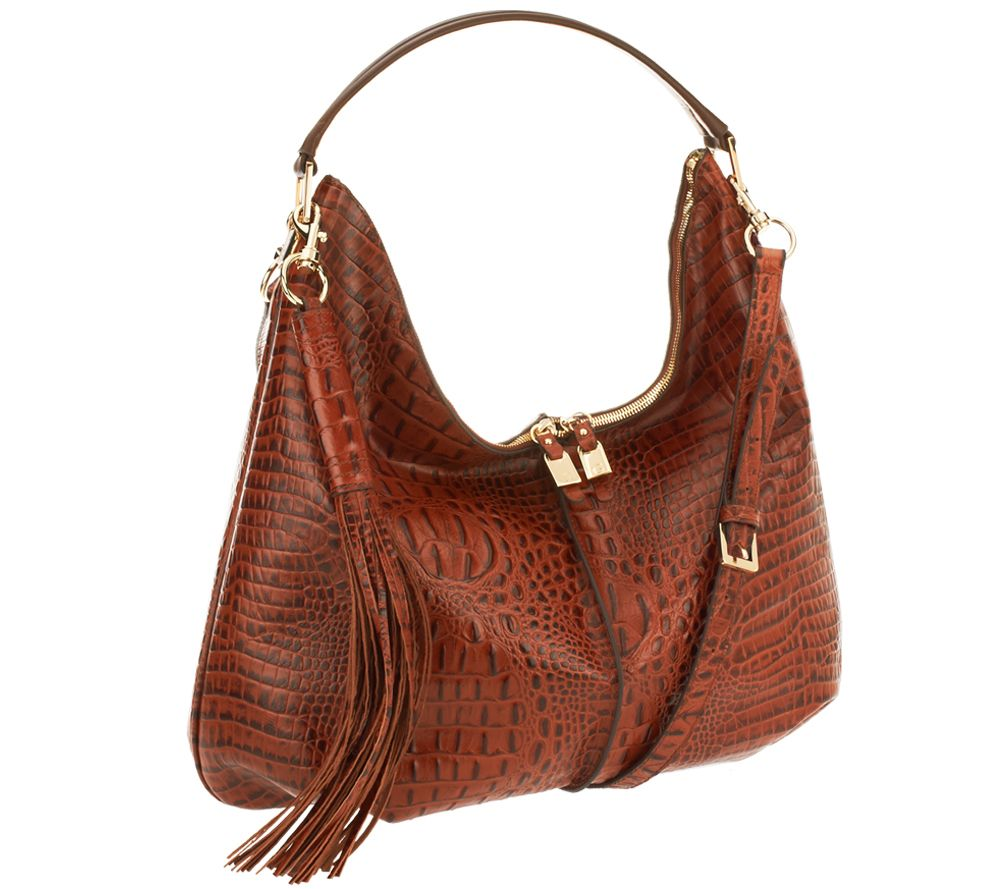 589dbe6ac7 G.I.L.I. Milano Double Zip Exotic Leather Hobo - Page 1 — QVC.com