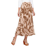 George Simonton Regular Printed Milky Knit Maxi Skirt with Chiffon Godets - A262254