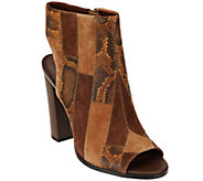 C. Wonder Leather Open Toe Booties with Patchwork Detail - Ivy - A279954