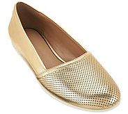 As Is H by Halston Perforated Leather Slip-On Shoes - Leah - A283954