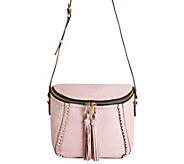 As Is orYANY Pebbled Leather Crossbody Bag with Tassels - Kimberly - A286454