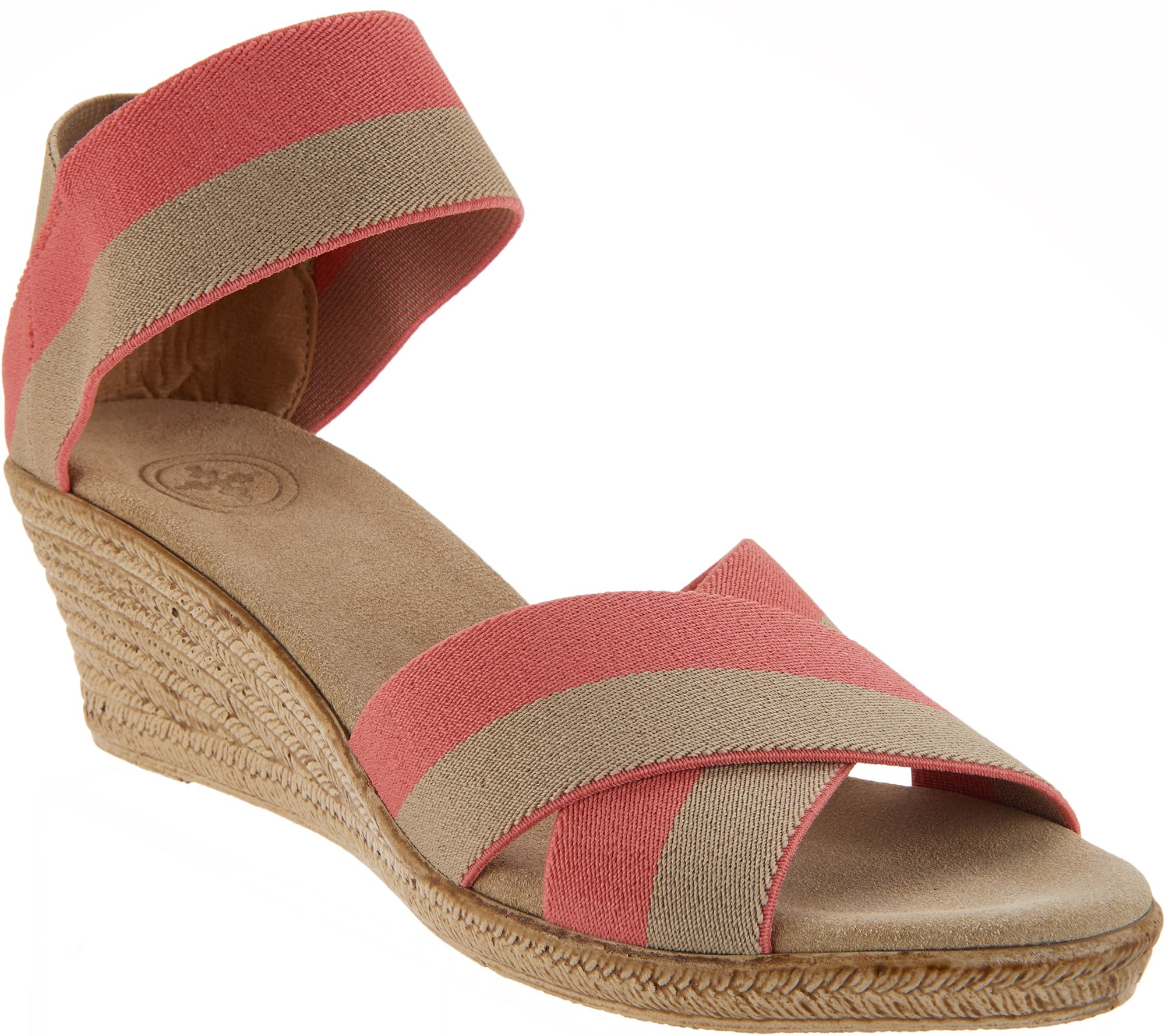 3038d1452886 Charleston Shoe Co. Stretch Wedge Sandals - Cannon - Page 1 — QVC.com