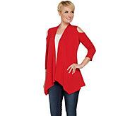 Susan Graver Liquid Knit Cold Shoulder Cardigan - A289154